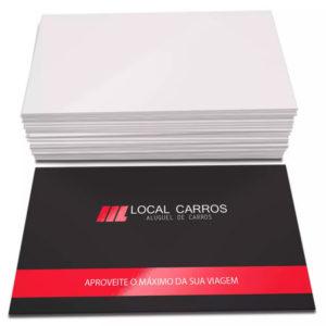 1000 Cartões – 48x88mm Couchê 300g – Lamin Fosca – Verniz Local F/V – 4×0 Cores